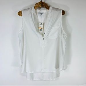 William Rast White Cotton Flowy Sleeveless Blouse